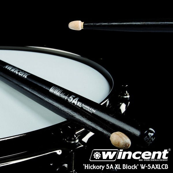 [드럼코리아 1599-3867] Wincent Hickory 5A XL Black Drum Stick /W-5AXLCB 윈센트 드럼스틱