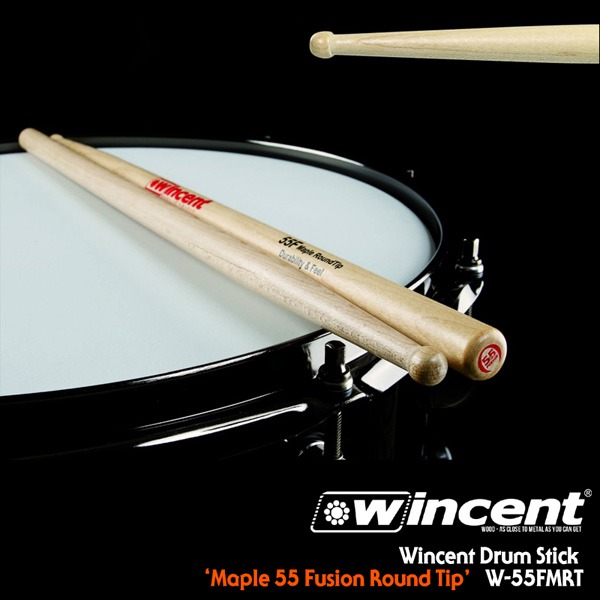 [드럼코리아 1599-3867] Wincent Maple 55 Fusion Round Tip Drum Stick /W-55FMRT 윈센트 드럼스틱