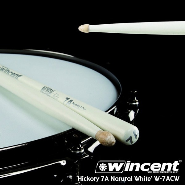 [드럼코리아 1599-3867] Wincent Hickory 7A White Drum Stick /W-7ACW 윈센트 드럼스틱